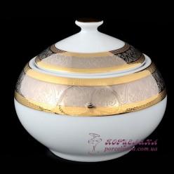 """Сахарница с крышкой Opal, 0.35 л.  /декор """"Широкий кант платина, золото""""/"""