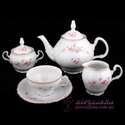 """Чайный сервиз Bernadotte, 240мл. /декор """"Бледные розы""""/"""