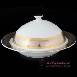 """Маслёнка круглая с крышкой Opal /декор """"Широкий кант платина, золото""""/"""