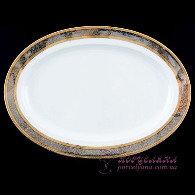 "Блюдо овальное Opal, 32 см /декор ""Широкий кант платина, золото""/"