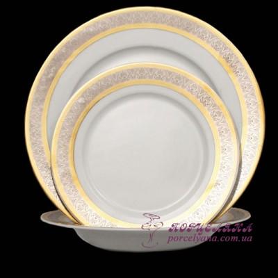 "Набор тарелок Opal, 18 предметов /декор ""Широкий кант платина, золото""/"