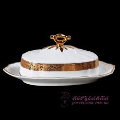 "Маслёнка прямоугольная с крышкой Marie-Louise /декор ""Золотая лента""/"