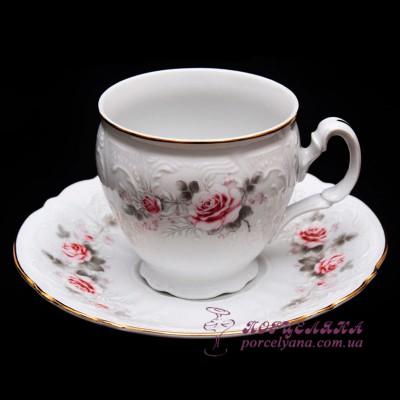 """Набор чашек для капучино Bernadotte, 170 мл. 12 предметов /декор """"Бледные розы""""/"""