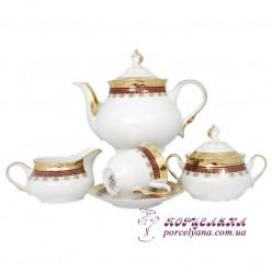 """Чайный сервиз Constance, 230мл. 17 пр. /декор """"Малиновая лента""""/"""