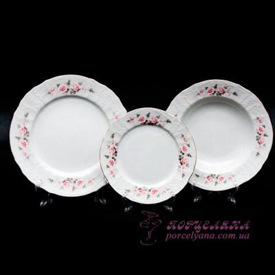 """Набор тарелок Bernadotte, 18 пр. /декор """"Бледные розы""""/"""