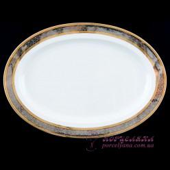 "Блюдо овальное Opal, 36 см /декор ""Широкий кант платина, золото""/"