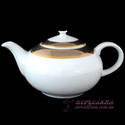 "Заварочный чайник Opal, 1.2 л. /декор ""Широкий кант платина, золото""/"