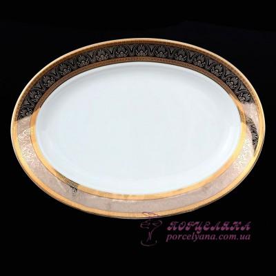 "Блюдо овальное Opal, 24 см /декор ""Широкий кант платина, золото""/"