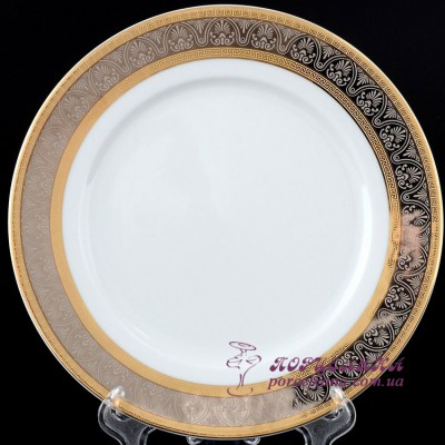"Набор тарелок Opal, 21 см, 6 пр. /декор ""Широкий кант платина, золото""/"