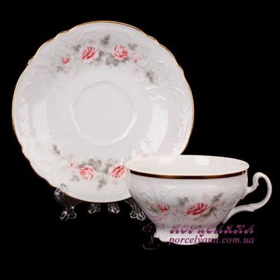 """Набор чашек для чая Bernadotte, 205 мл. 12 предметов /декор """"Бледные розы""""/"""