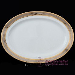 "Блюдо овальное Opal, 39 см /декор ""Широкий кант платина, золото""/"