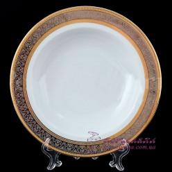 "Набор тарелок глубоких Opal, 22 см, 6 пр. /декор ""Широкий кант платина, золото""/"
