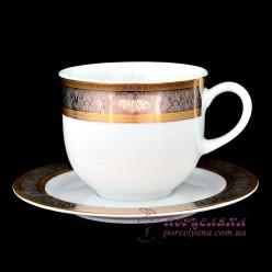 """Набор чашек с блюдцем Opal, 270 мл, 12 пр./декор """"Широкий кант платина, золото""""/"""