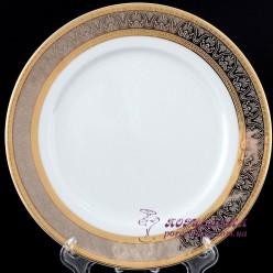 "Набор десертных тарелок Opal, 19 см, 6 пр. /декор ""Широкий кант платина, золото""/"