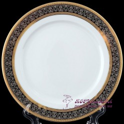 "Блюдо круглое Opal, 30 см /декор ""Широкий кант платина, золото""/"