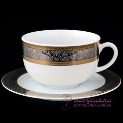 "Набор низких чашек с блюдцем Opal, 350 мл, 12 пр. /декор ""Широкий кант платина, золото""/"
