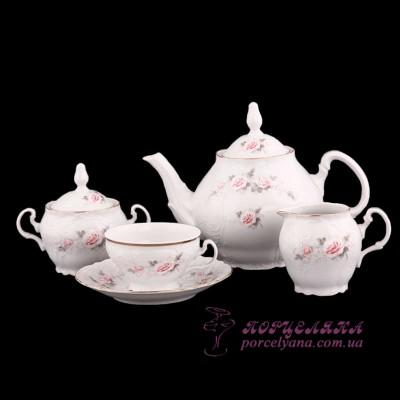 """Чайный сервиз Bernadotte, 205мл. /декор """"Бледные розы""""/"""